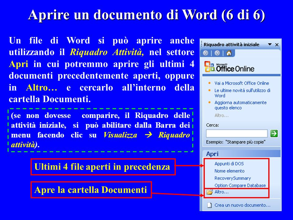 Aprire un documento di Word (6 di 6)