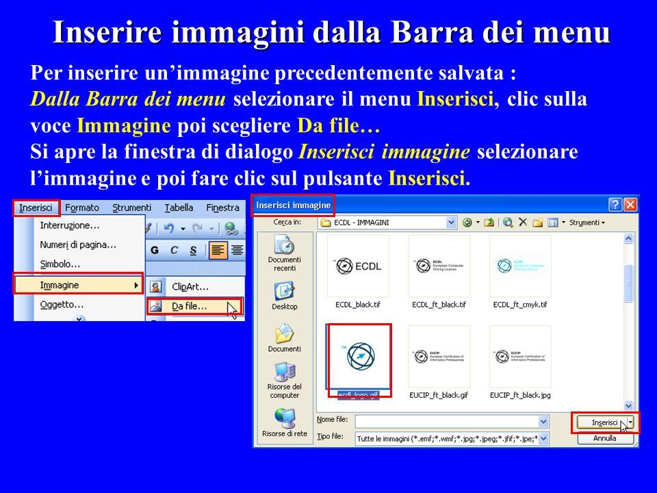 Inserire immagini dalla Barra dei menu