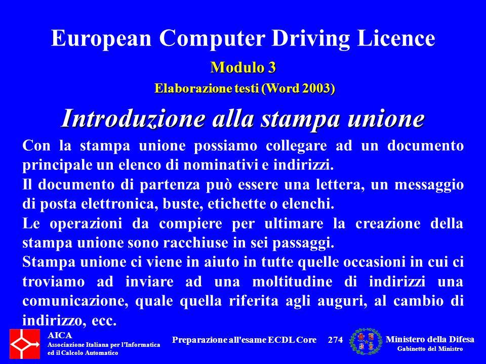 Introduzione alla stampa unione Preparazione all esame ECDL Core