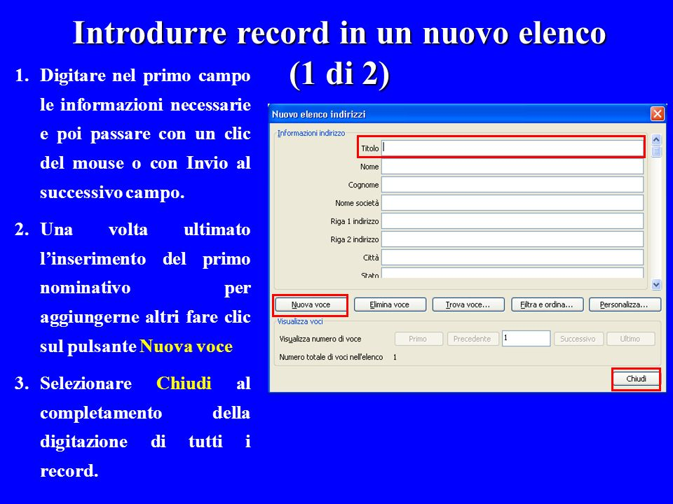 Introdurre record in un nuovo elenco