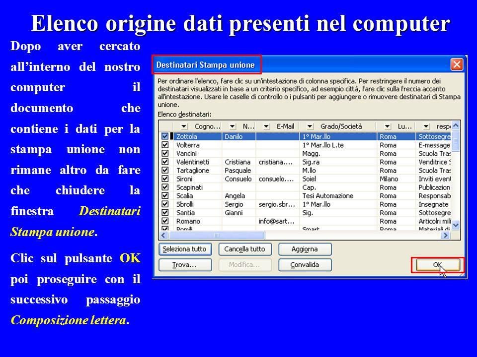 Elenco origine dati presenti nel computer