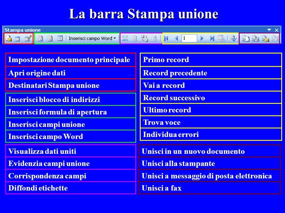 La barra Stampa unione Impostazione documento principale