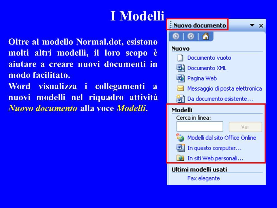 I Modelli Oltre al modello Normal.dot, esistono molti altri modelli, il loro scopo è aiutare a creare nuovi documenti in modo facilitato.