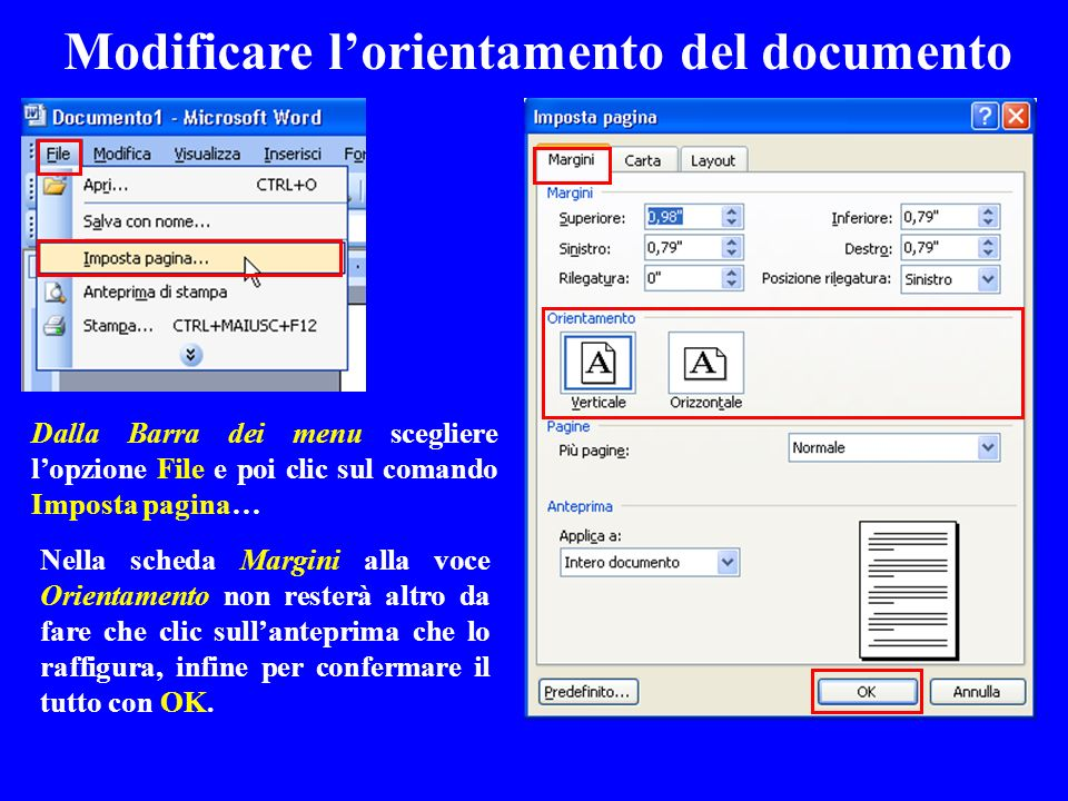 Modificare l'orientamento del documento