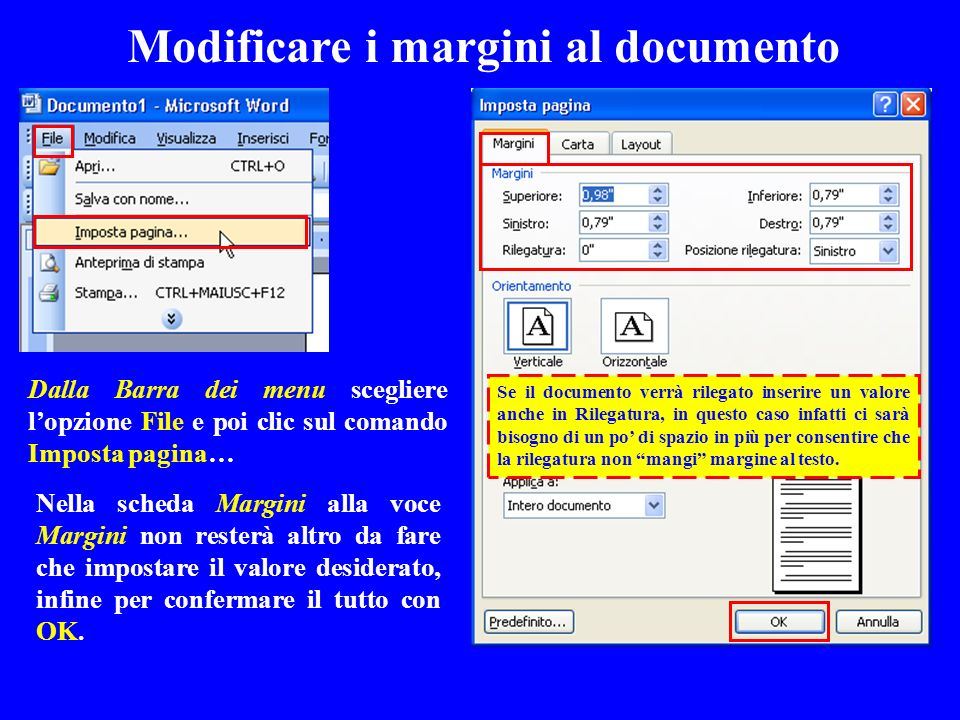 Modificare i margini al documento