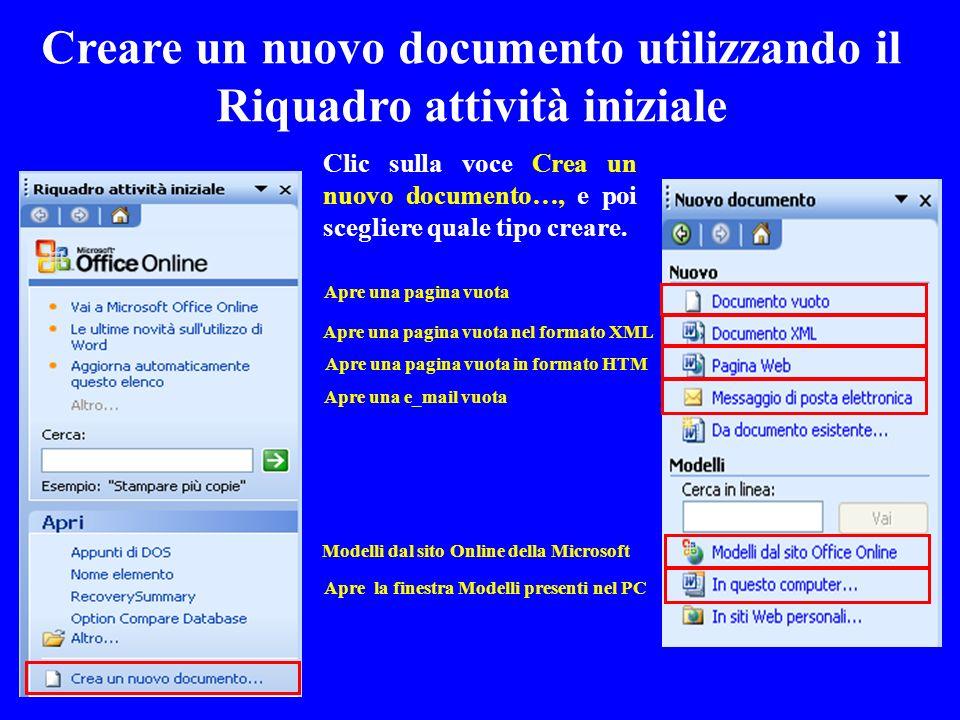 Creare un nuovo documento utilizzando il Riquadro attività iniziale