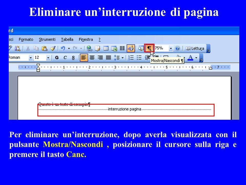 Eliminare un'interruzione di pagina