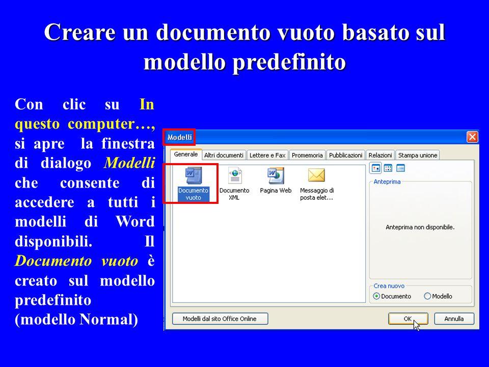 Creare un documento vuoto basato sul modello predefinito