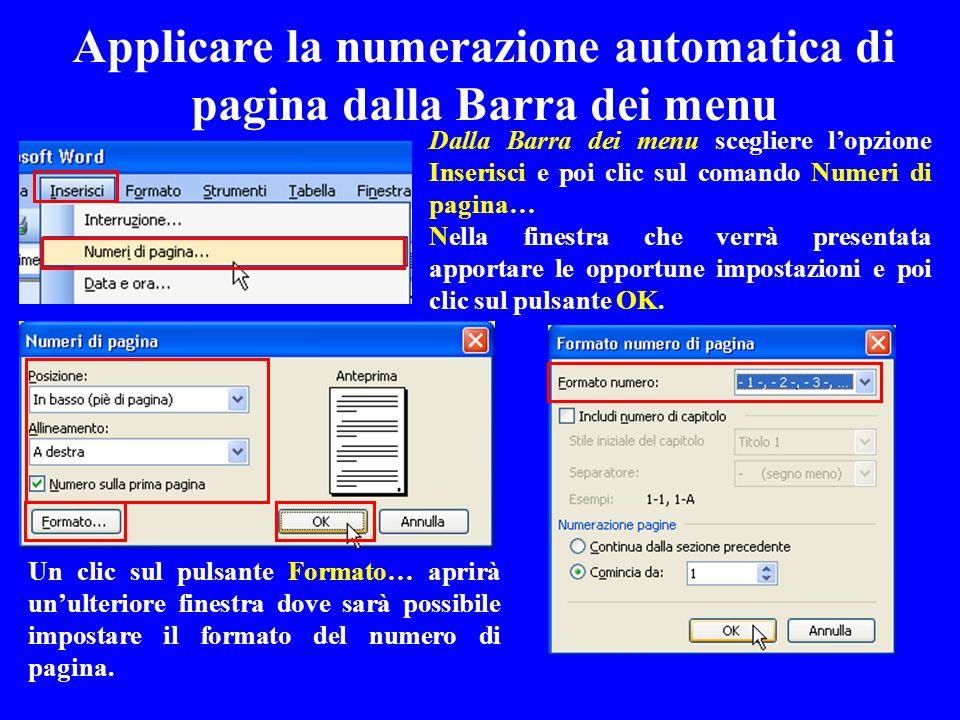 Applicare la numerazione automatica di pagina dalla Barra dei menu