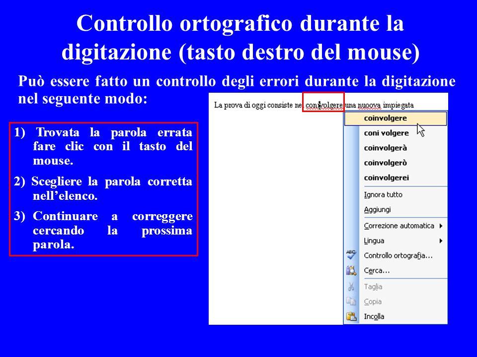 Controllo ortografico durante la digitazione (tasto destro del mouse)