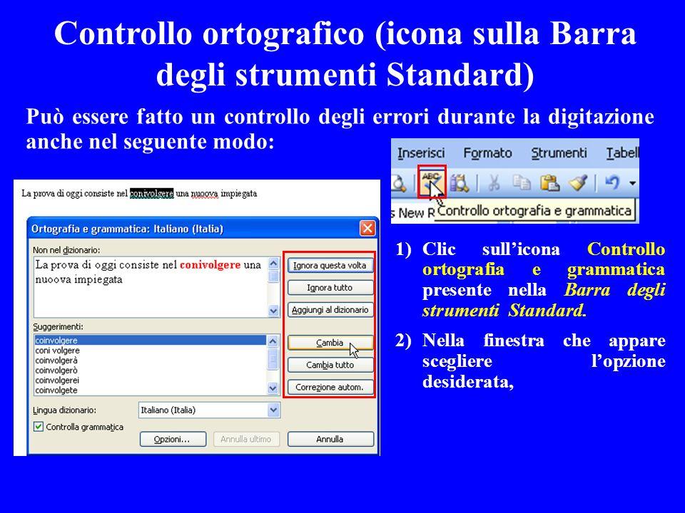 Controllo ortografico (icona sulla Barra degli strumenti Standard)