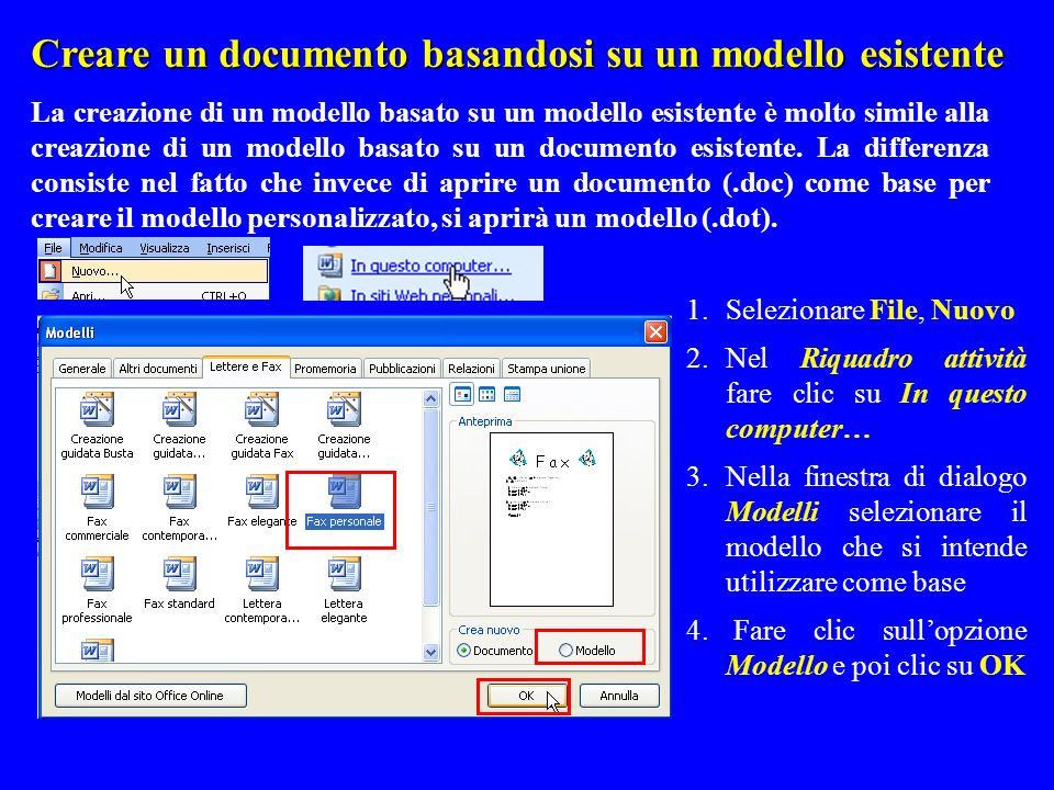 Creare un documento basandosi su un modello esistente