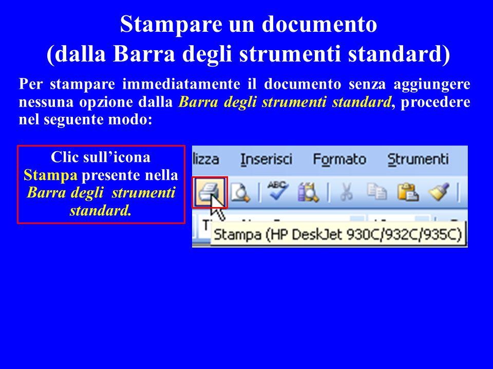 Stampare un documento (dalla Barra degli strumenti standard)