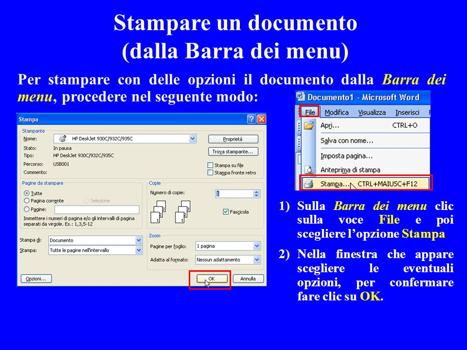 Stampare un documento (dalla Barra dei menu)