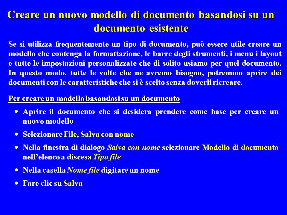 Creare un nuovo modello di documento basandosi su un documento esistente