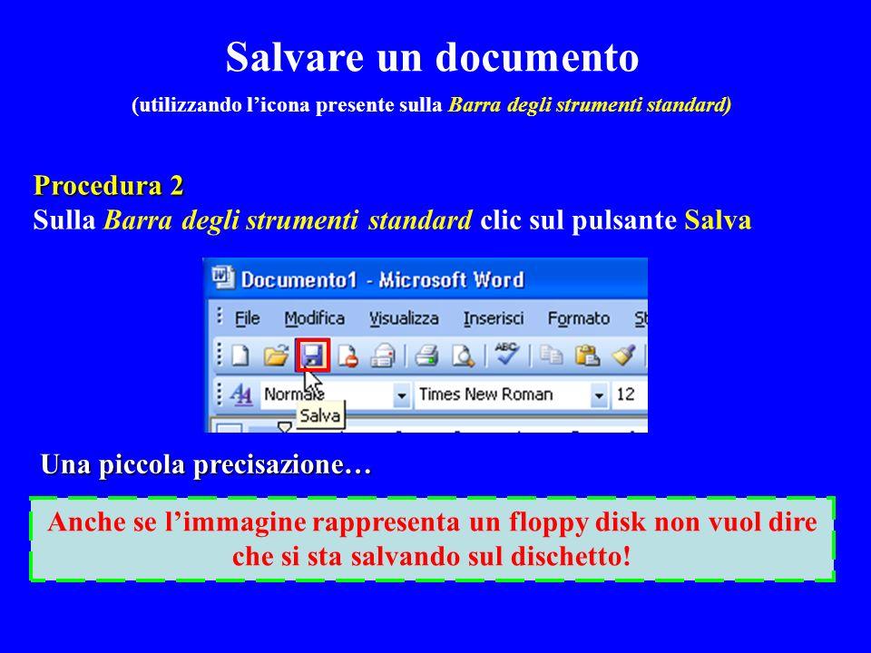 (utilizzando l'icona presente sulla Barra degli strumenti standard)
