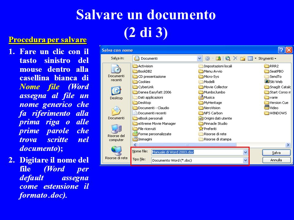 Salvare un documento (2 di 3)
