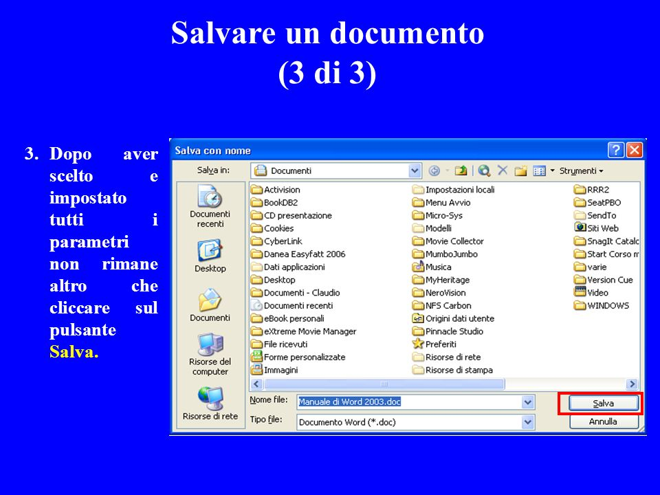 Salvare un documento (3 di 3)