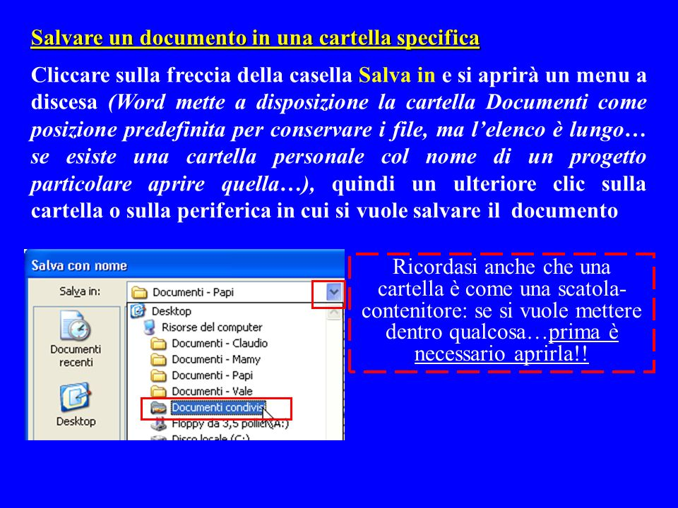 Salvare un documento in una cartella specifica