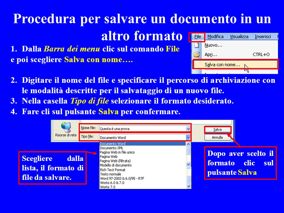 Procedura per salvare un documento in un altro formato