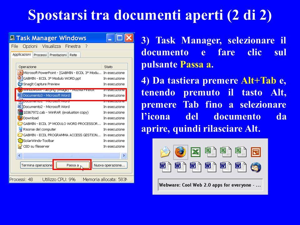 Spostarsi tra documenti aperti (2 di 2)