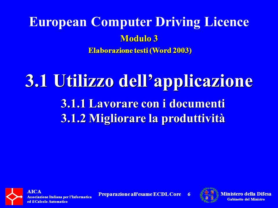 3.1 Utilizzo dell'applicazione Preparazione all esame ECDL Core