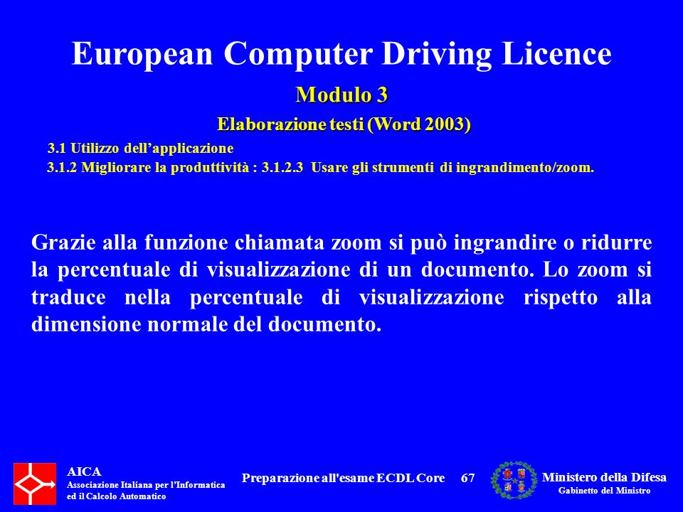 Preparazione all esame ECDL Core
