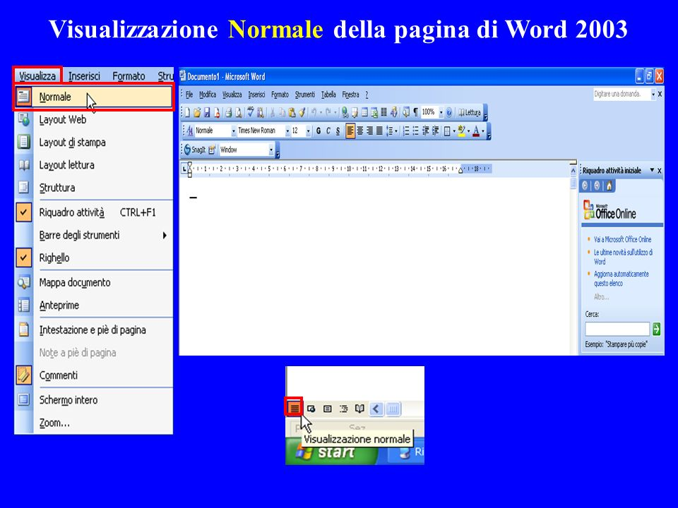 Visualizzazione Normale della pagina di Word 2003