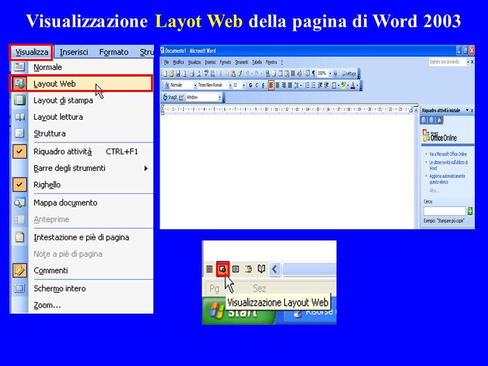 Visualizzazione Layot Web della pagina di Word 2003