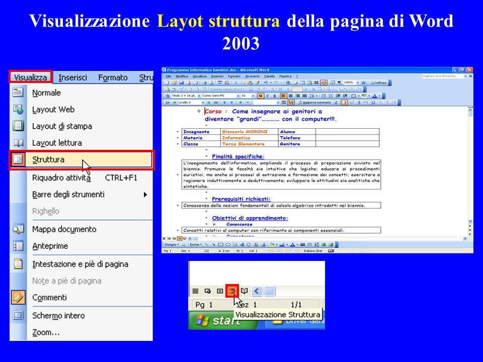 Visualizzazione Layot struttura della pagina di Word 2003