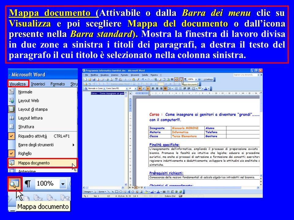 Mappa documento (Attivabile o dalla Barra dei menu clic su Visualizza e poi scegliere Mappa del documento o dall'icona presente nella Barra standard). Mostra la finestra di lavoro divisa in due zone a sinistra i titoli dei paragrafi, a destra il testo del paragrafo il cui titolo è selezionato nella colonna sinistra.