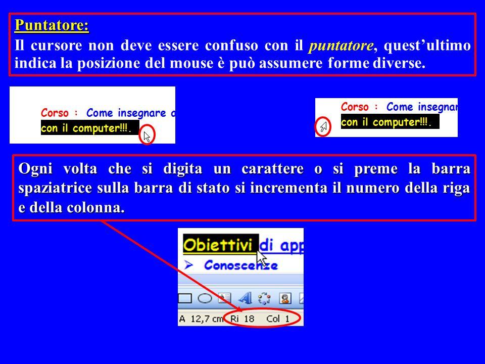 Puntatore: Il cursore non deve essere confuso con il puntatore, quest'ultimo indica la posizione del mouse è può assumere forme diverse.