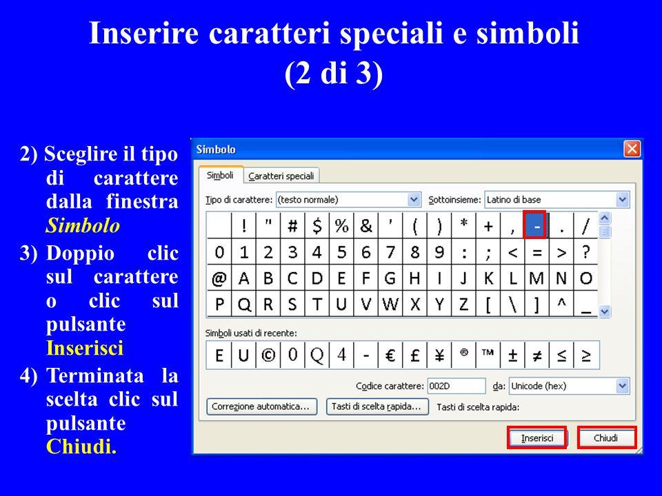 Inserire caratteri speciali e simboli