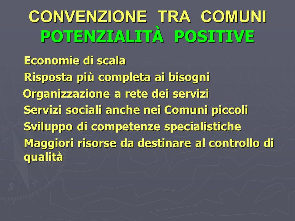 CONVENZIONE TRA COMUNI POTENZIALITÀ POSITIVE