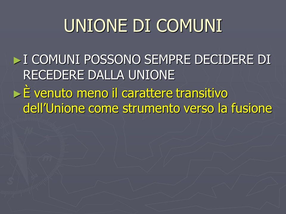 UNIONE DI COMUNI I COMUNI POSSONO SEMPRE DECIDERE DI RECEDERE DALLA UNIONE.