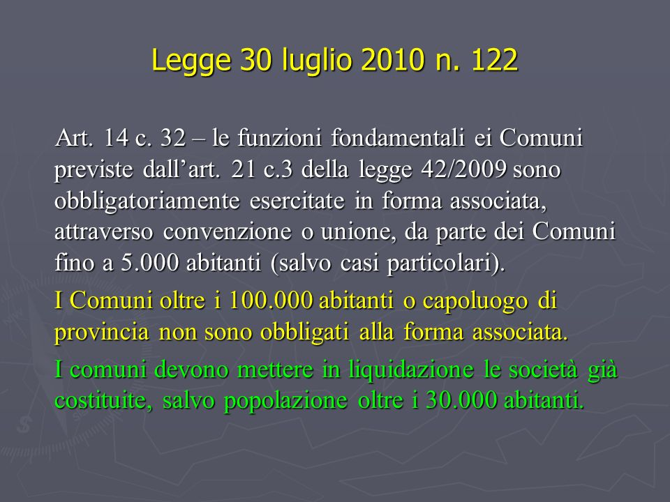 Legge 30 luglio 2010 n. 122