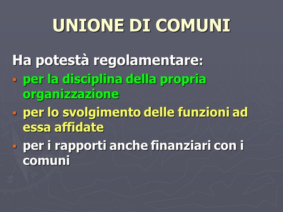 UNIONE DI COMUNI Ha potestà regolamentare:
