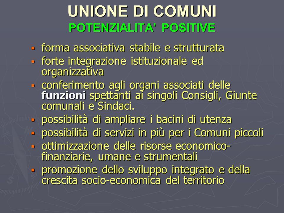 UNIONE DI COMUNI POTENZIALITA' POSITIVE