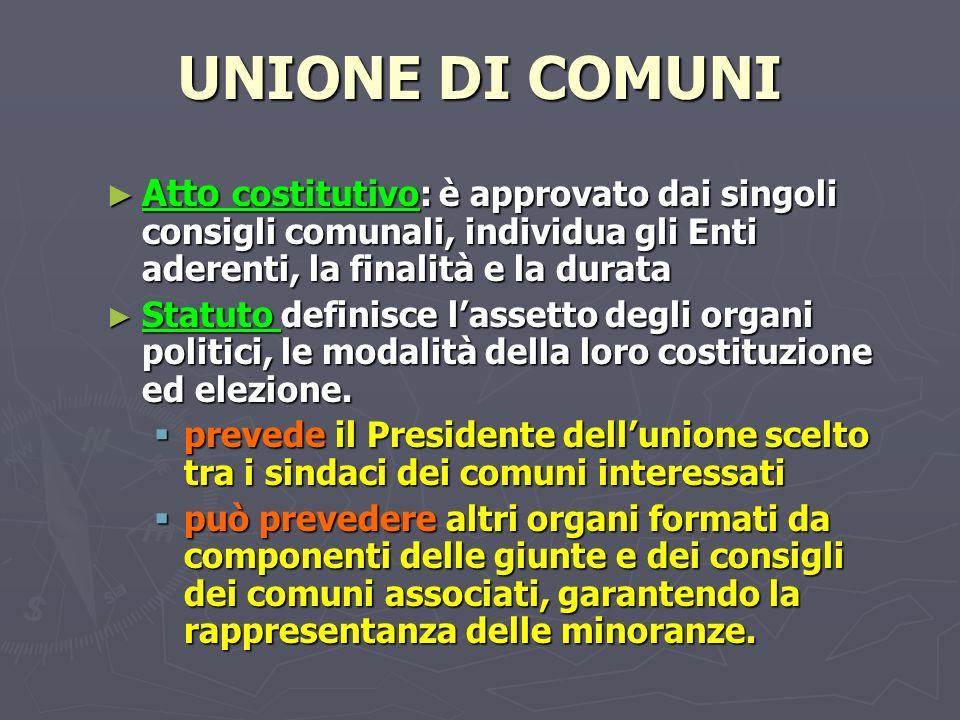 UNIONE DI COMUNI Atto costitutivo: è approvato dai singoli consigli comunali, individua gli Enti aderenti, la finalità e la durata.
