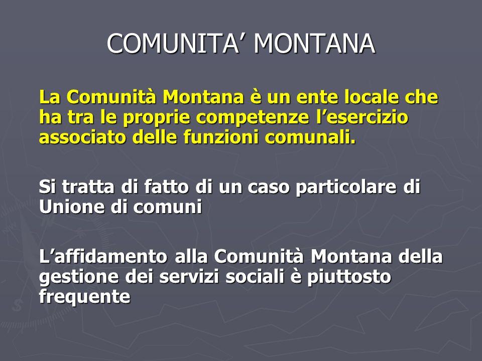 COMUNITA' MONTANA La Comunità Montana è un ente locale che ha tra le proprie competenze l'esercizio associato delle funzioni comunali.