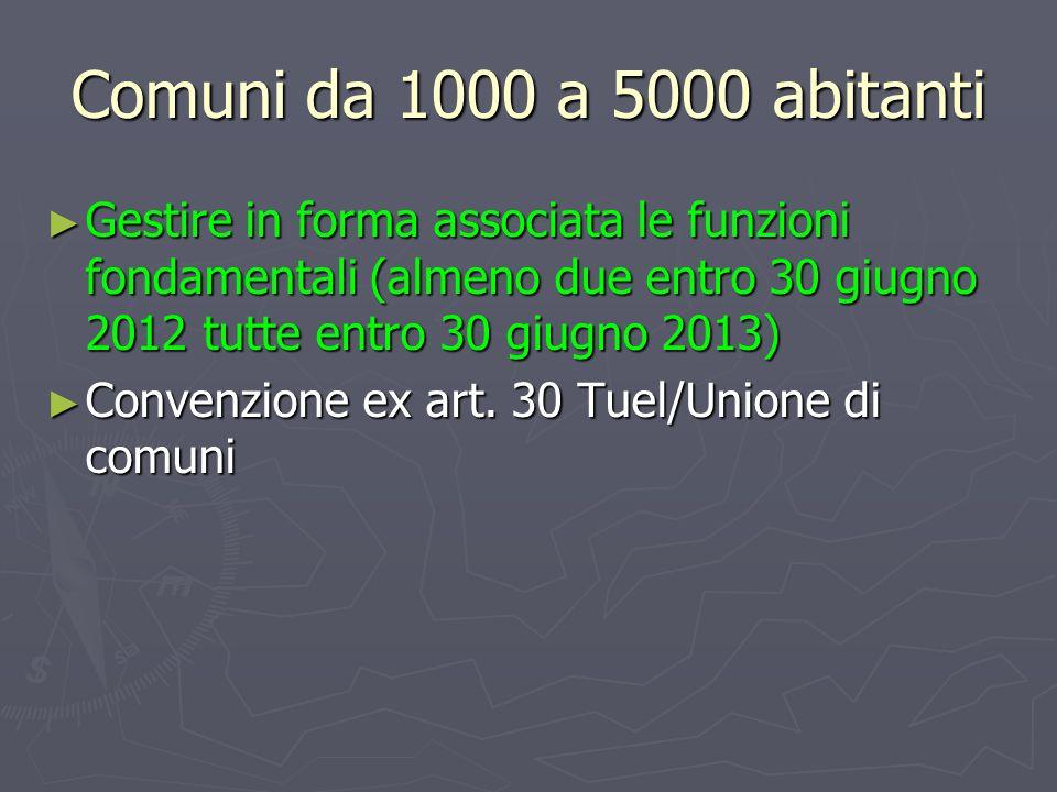 Comuni da 1000 a 5000 abitanti Gestire in forma associata le funzioni fondamentali (almeno due entro 30 giugno 2012 tutte entro 30 giugno 2013)