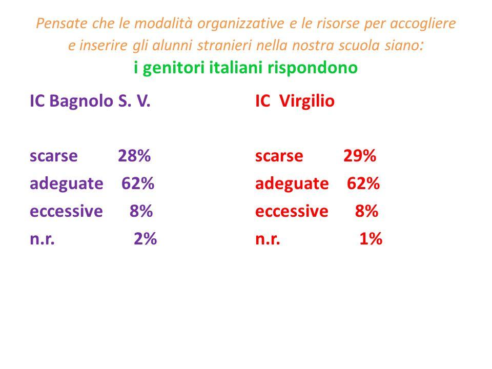 IC Bagnolo S. V. scarse 28% adeguate 62% eccessive 8% n.r. 2%