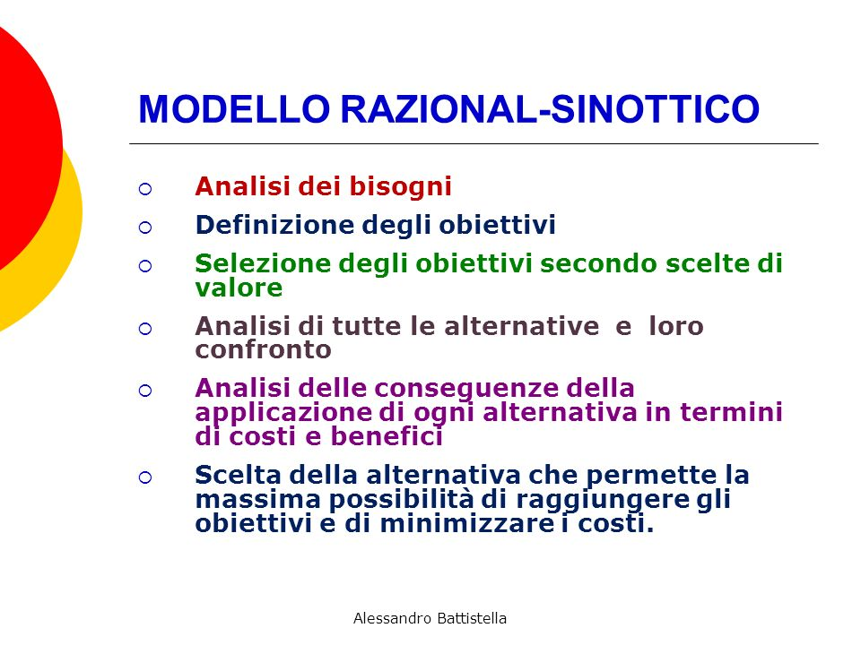 MODELLO RAZIONAL-SINOTTICO