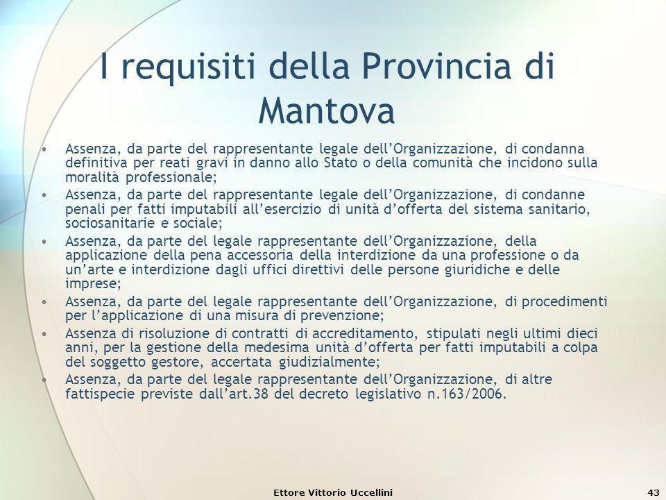 I requisiti della Provincia di Mantova