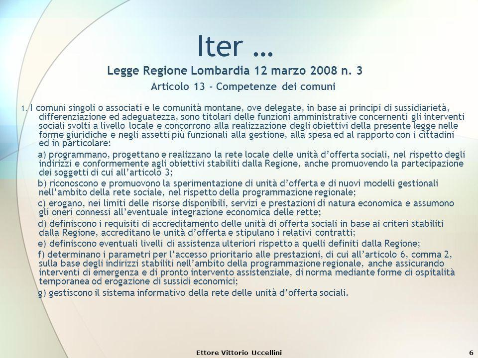 Iter … Legge Regione Lombardia 12 marzo 2008 n. 3