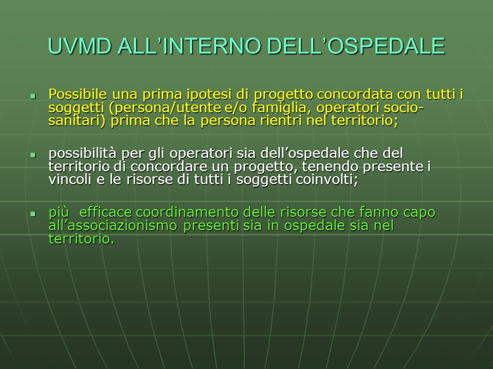 UVMD ALL'INTERNO DELL'OSPEDALE