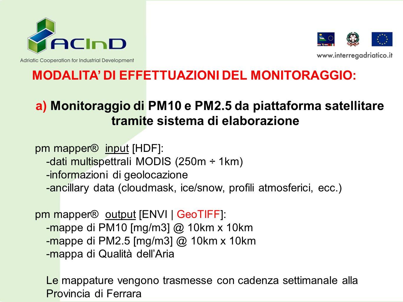 a) Monitoraggio di PM10 e PM2.5 da piattaforma satellitare