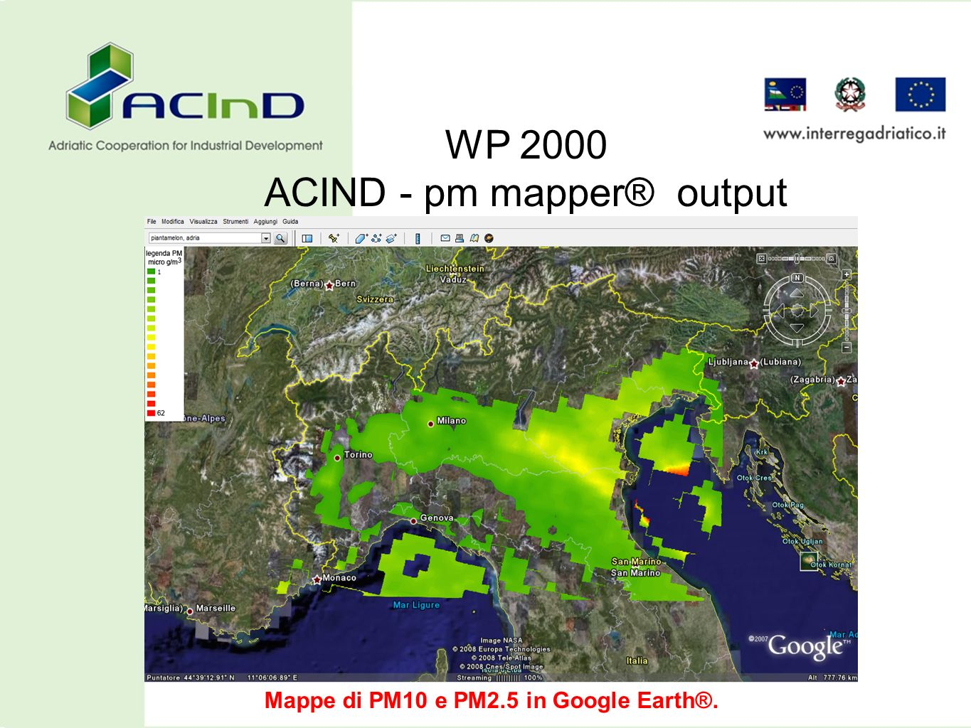 Mappe di PM10 e PM2.5 in Google Earth®.