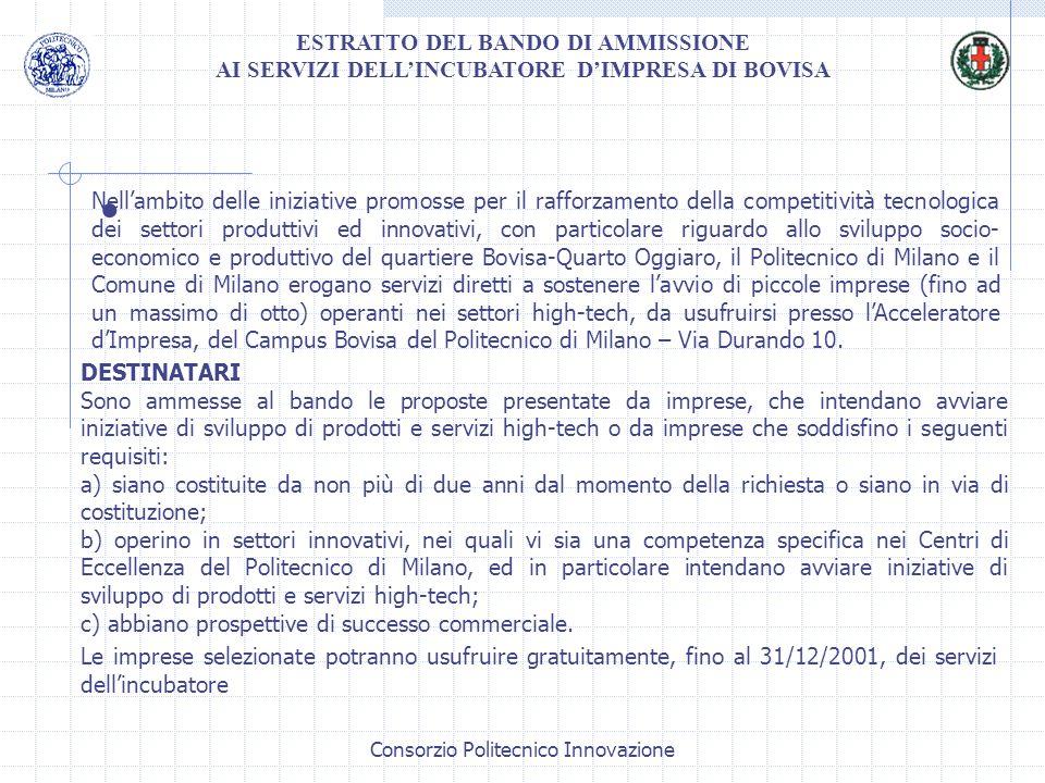 · ESTRATTO DEL BANDO DI AMMISSIONE