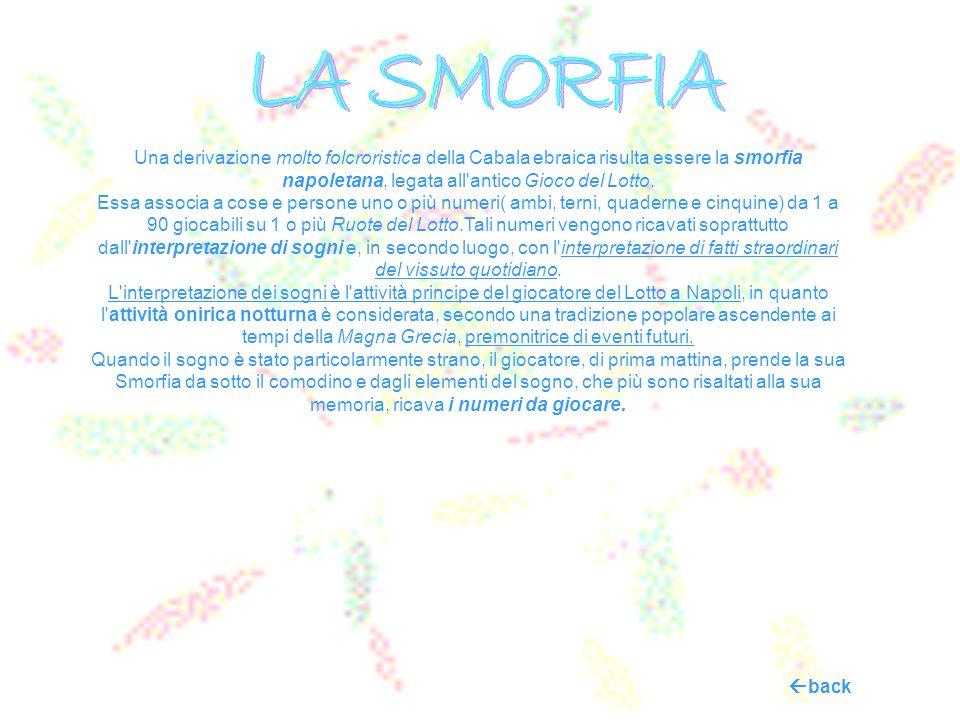 LA SMORFIA Una derivazione molto folcroristica della Cabala ebraica risulta essere la smorfia napoletana, legata all antico Gioco del Lotto.